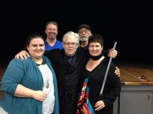 "The Cast, Director, and Creator of ""Kung Foolerly"" from left to right - bottom row: Kel Ross, Kevin McGrath, Barbara Cochran. Top row:  Dr. Brett Hursey (Playwright) and Bill Green (Director)"