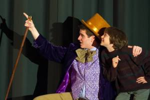 From Left to Right: Wonka/Candy Man - William Goldstein, Charlie- Muggs Leone Photo credit: Stephen Rummel Photography