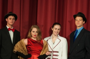 From L to R: Ben Labowitz as Nathan Detroit; Kathryn Dobyns as Adelaide; Kathleen West as Miss Sarah; and Brandon Bollick as Sky Masterson.  Photo Credit: Stephen Rummel Photography