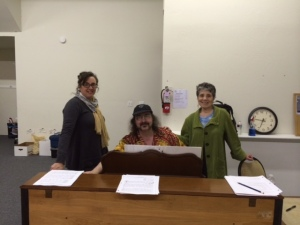 """(From L-R) The director, the composer, and Diane, the librettist/lyricist, at a rehearsal of """"Sleeping Cutie, a Fractured Fairy Tale Musical,"""" produced in San Francisco last spring."""