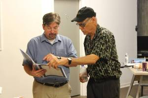Just brushing up on a few things with Director Bill Green (right)